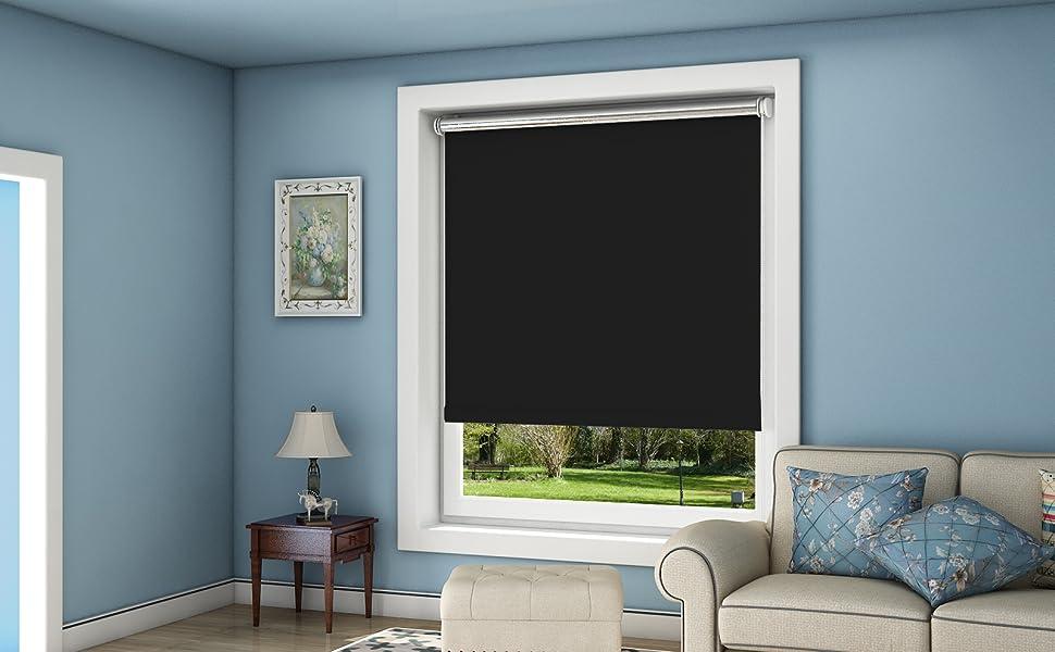oubo verdunkelungsrollo ohne bohren thermo rollo klemmfix 90 x 150 cm bxh schwarz. Black Bedroom Furniture Sets. Home Design Ideas