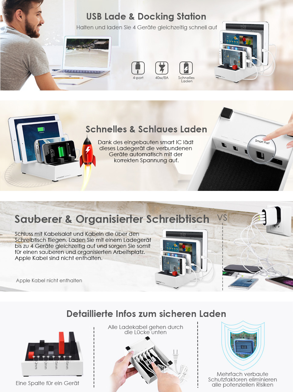 avantree 4 port universal multi usb ladestation f r mehrere ger te tablet handy mehrfach. Black Bedroom Furniture Sets. Home Design Ideas