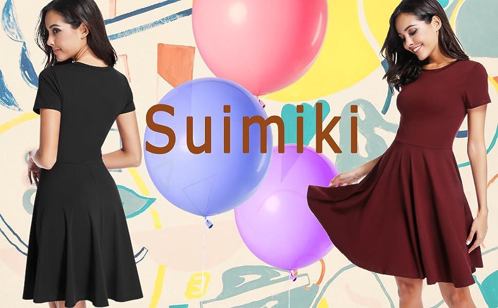 Suimiki Damen Skaterkleider Kniel/änge Rundhals Stretch Basic Kleide