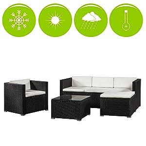 ArtLife Polyrattan Lounge Punta Cana L für 4-5 Personen mit Tisch in Schwarz mit Bezügen in Creme