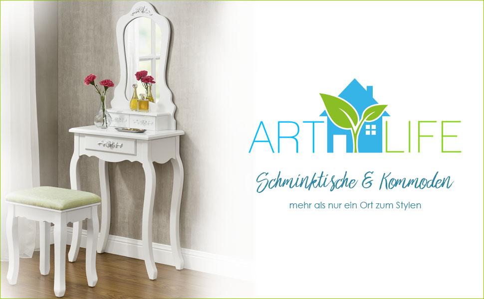 ArtLife Schminktisch Sophia - weiß - mit Spiegel und Hocker: Amazon ...