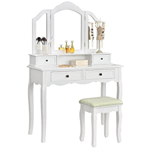 artlife schminktisch fiona mit hocker 4 schubladen und 3 spiegeln k che haushalt. Black Bedroom Furniture Sets. Home Design Ideas