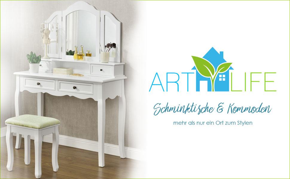 Artlife schminktisch fiona mit hocker 4 schubladen und 3 spiegeln k che haushalt for Schminktisch mit 3 spiegeln
