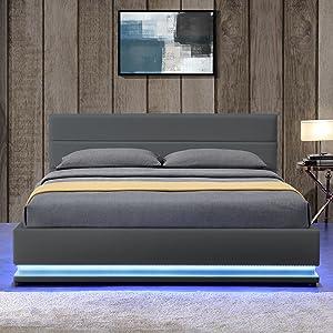 d8b4fb5ade ArtLife Polsterbett Toulouse 140 x 200 cm mit rundum LED und Bettkasten -  dunkelgrau