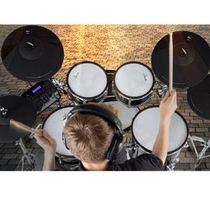 """Top E-Drum Set mit Mesh Heads Holzkessel 720 Sounds und echter HiHat 20/"""" Kick"""