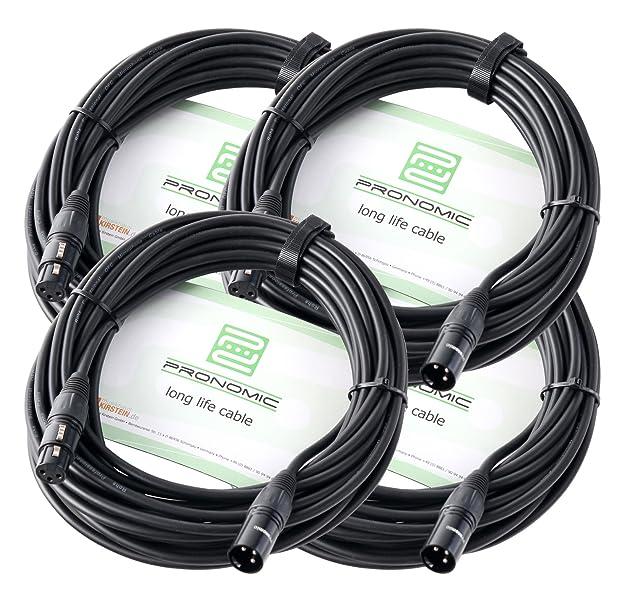 4er Set Pronomic XFXM-10 Mikrofonkabel (10m Länge, XLR female 3-pol ...