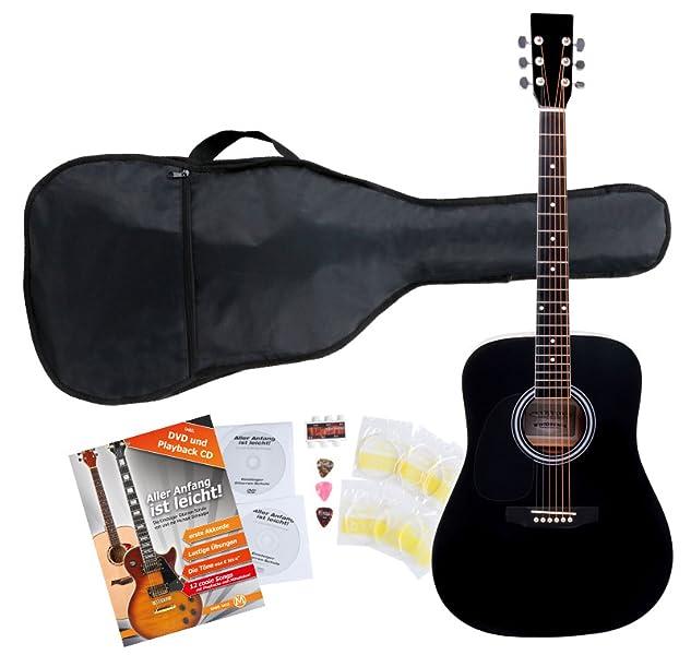 Klasse 4//4 Akustik Gitarre für Einsteiger und Fortgeschrittene Linkshänder SET!