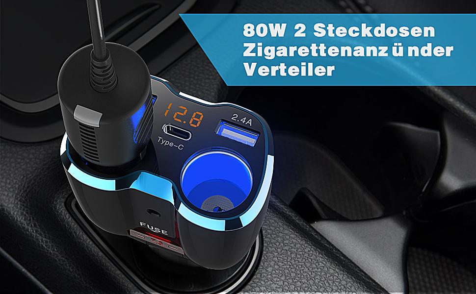 auto Ladegerät Zigarettenanzünder Verteiler Splitter kfz 2 Steckdosen Uber Fahrer Tomtom GPS