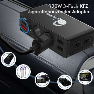 Auto Zigarettenanzünder Adapter USB KFZ Ladegerät 3 Steckdose Mehrfach Verteiler Splitter DC 12V