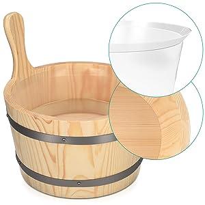Holz Saunaeimer mit extra Einsatz aus Kunststoff
