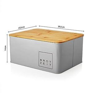 Grau Bambus Bambusdeckel Schneidebreutt Brotkasten Brotbox Brotkiste Aufbewahrung