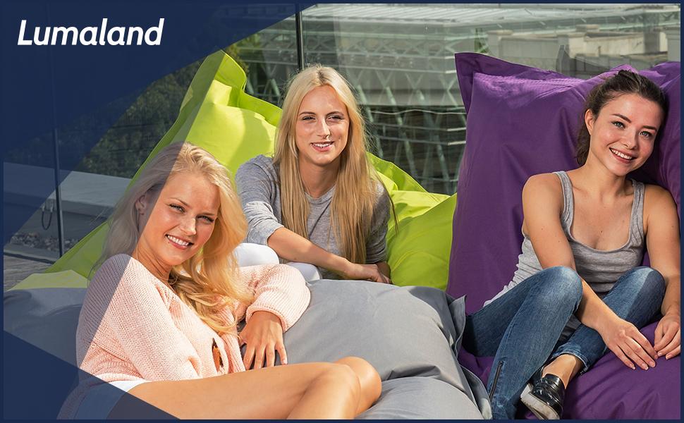 lumaland luxury riesensitzsack xl sitzsack 270l f llung 120 x 160 cm indoor outdoor schwarz. Black Bedroom Furniture Sets. Home Design Ideas