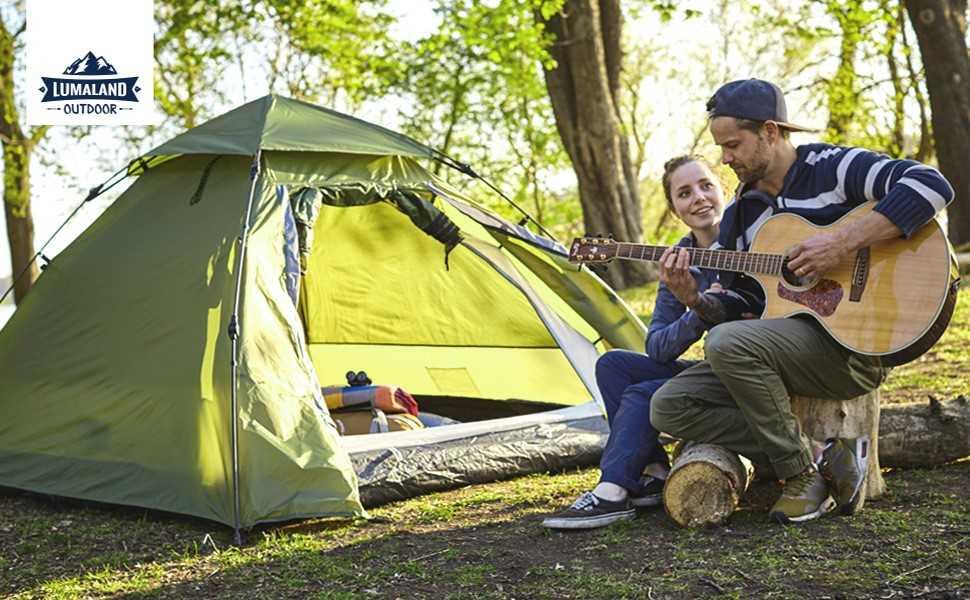 Lumaland Outdoor Pop Up Kuppelzelt Wurfzelt 3 Personen