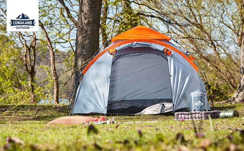 Lumaland Tienda de campaña Familiar Light Pop Up 3 Personas Camping Acampada Festival 220 x 220 x 130 cm