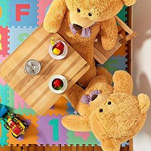 Deko Spielzeug Braun Beige Weiß Knopfaugen