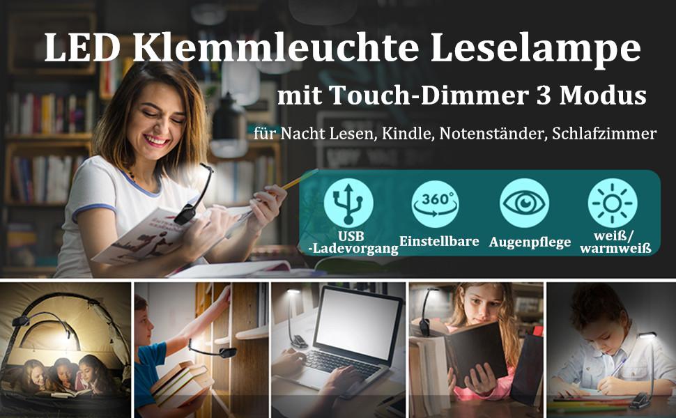 Fansport USB Nachtlicht Touch Modus Tragbare Verstellbare USB Leselampe