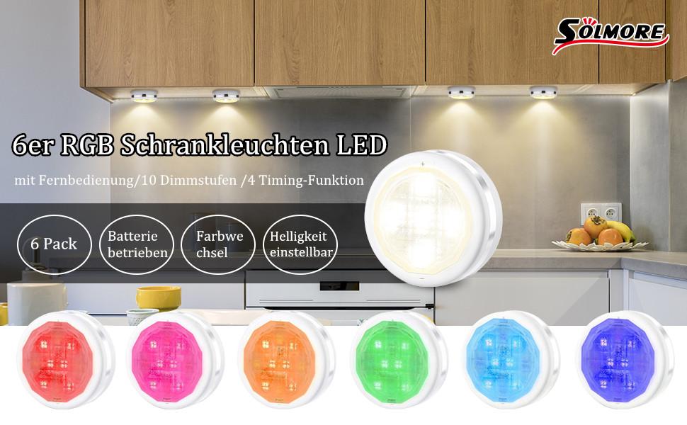 6er Schrankleuchte Led Nachtlicht mit Fernbedienung Treppen Licht Nachtlicht RGB