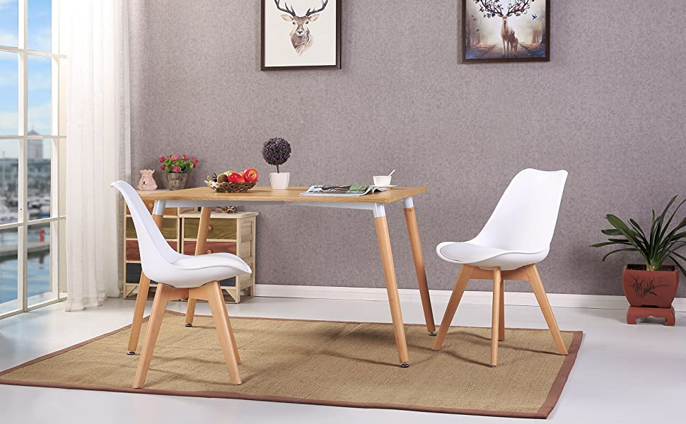 eggree 4er set esszimmerst hle mit massivholz buche bein retro design gepolsterter stuhl. Black Bedroom Furniture Sets. Home Design Ideas