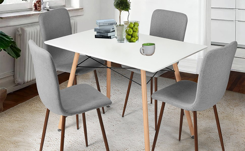 coavas Dining Chairs Set aus 4 Stoff Küchenstühlen mit stabilen ...