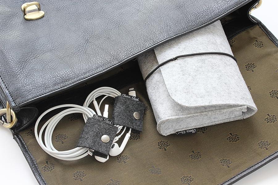 classic slash ladekabel tasche inkl 3 kabelbinder aus filz dunkelgrau i small. Black Bedroom Furniture Sets. Home Design Ideas