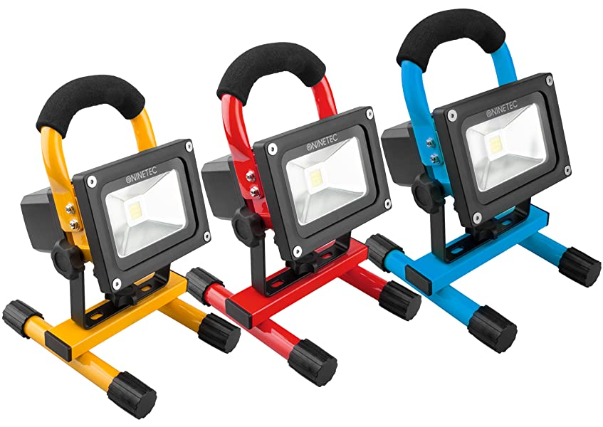 NINETEC 20W LED Flutlicht Fluter Lampe Au/ßen Strahler kabellos Baustrahler tragbar Gelb