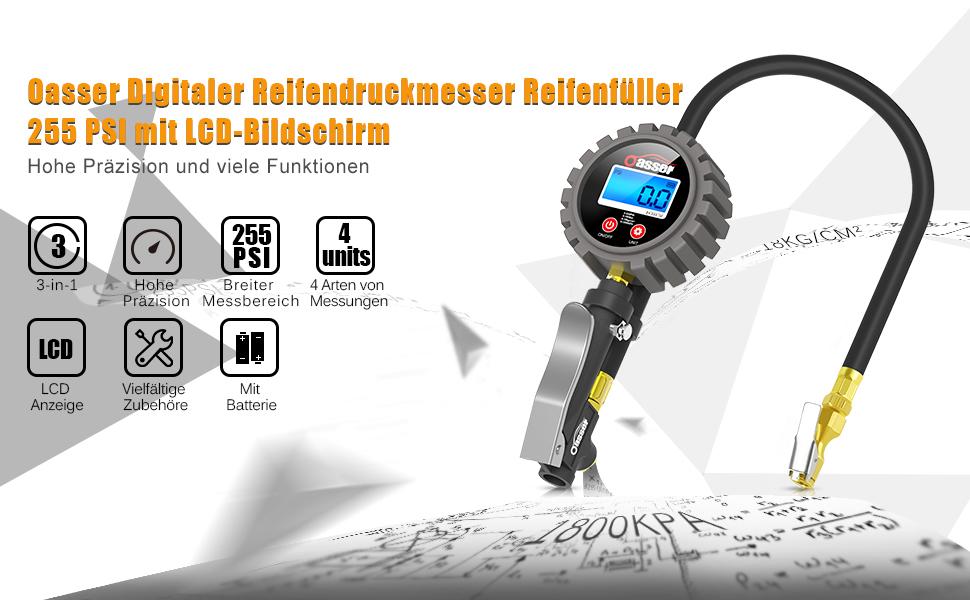 5 in 1 Digitales Reifendruckmessger/ät Multifunktionale Reifendrucksensorsysteme Digitale Reifendruckmesser