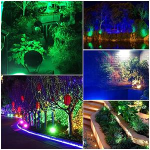 Spotbeleuchtung,Bodenleuchte,Teichstrahler 2er Pack 10W RGB LED Gartenleuchte Scheinwerfer,230V,Ausschalten Memory-Funktion,mit Stecker Erdspie/ß,Rasen Licht,GUMMI 1,5m Kabel,IP65,LED Lawn Licht