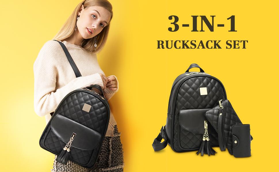 93678ab21c570 damenrucksack set. Das Vbiger Rucksack Damen PU Leder Elegant Daypack  Schultertasche 3 in 1 Kleiner Rucksack Set Schwarz ...