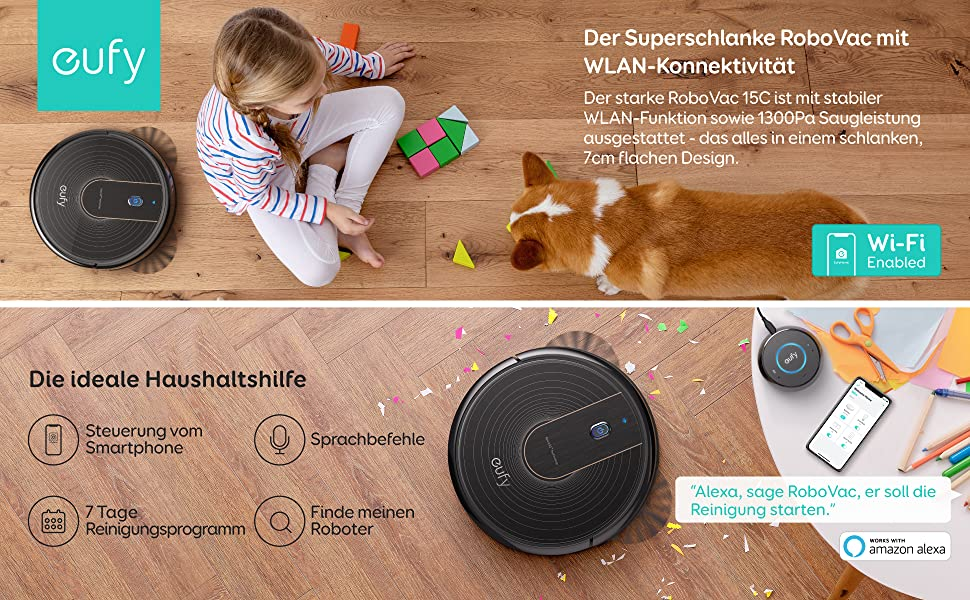 mit WLAN Funktion BoostIQ extrem flache eufy by Anker RoboVac 15C Saugroboter