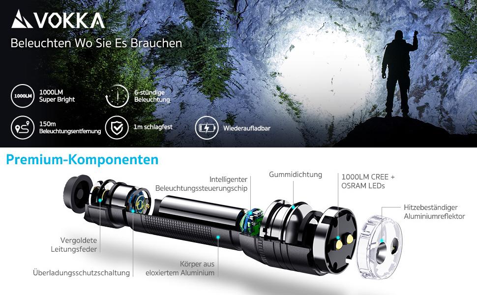 IP65 wasserdicht Ideal f/ür Gassi gehen Hiken und Notf/älle VOKKA Dual-LED Taschenlampe Campen stummer Moduswechsel USB Wiederaufladbare 1000-Lumen CREE /& OSRAM LED Handtaschenlampe mit 5 Modi