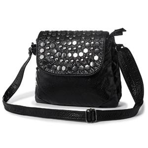05e1c75c961b3e Damen Kleine Umhängetasche Schultertasche Ledertasche mit Nieten. Wir  entscheiden uns für schwarze Tasche ...
