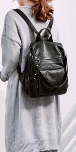 eb4239e5e4e91 UTO Damentasche schultertasche Casual Daypack PU gewaschen Leder Braun · UTO  Damen Rucksack PU Washed Leder 3 Möglichkeiten Zipper Schultertasche  Schwarz ...