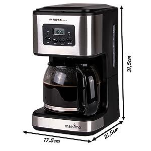 Edelstahl schwarz Kaffeemaschine mit Permanentfilter