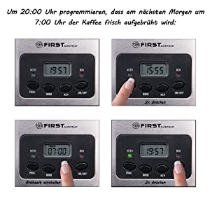 Vorprogrammierter Start Uhrzeitanhzeige