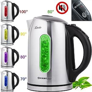 Edelstahl Wasserkocher mit Temperatureinstellung und Farbwechsel LED lautlos kein Signalton