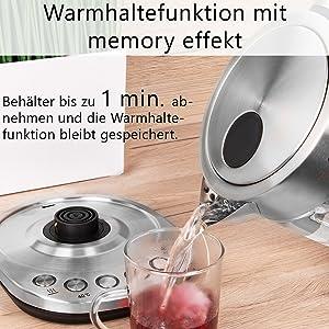 Innenlicht elektrischer Glaswasserkocher 1,5 L