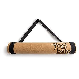 Yogibato Yoga Matte aus Kork und Kautschuk mit Tragegurt