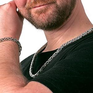 Fly Style 6 mm Königskette oder Armband | Halskette aus Edelstahl in Silber, schwarz und Gold | 18-90 cm, Farbwahl:Silber, Längen:55 cm