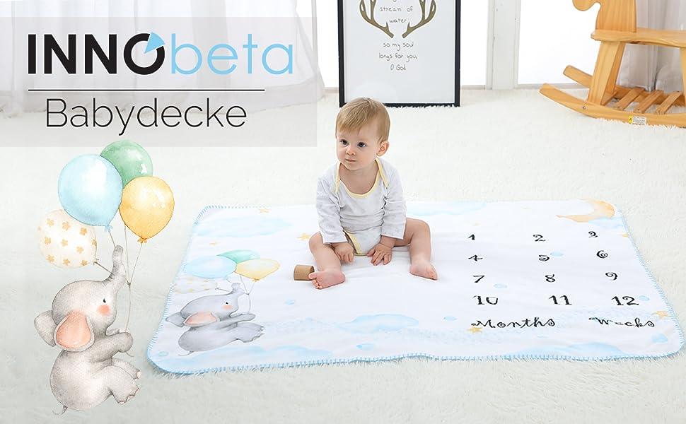 Babydecke Meilensteine Decke Baby Kuscheldecke Kuschelige Decke Fleecedecke Schmusedecke Erstlingsdecke Erstausstattung Geschenke Geburt F/ür Die Mutter M/ädchen /& Junge Wei/ß 120 Elefanten 100cm