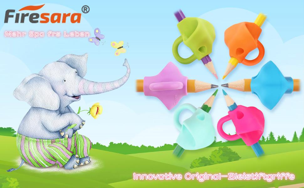 2 gro/ß + 4 Standard Firesara Elefant Training Bleistift GreiferHandschrift-Hilfe f/ür Kinder Kinder Vorschule Erwachsene besondere Bed/ürfnisse Righties oder Lefties Bleistift Griffe
