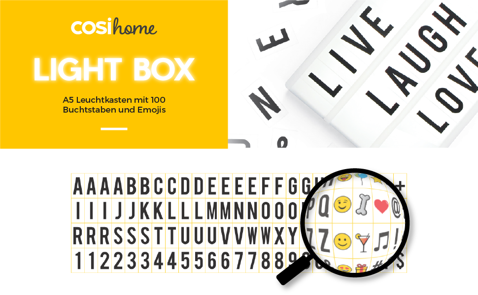 Leuchtkasten A5 mit 85 Buchstaben Symbolen batteriebetrieben Light-Box