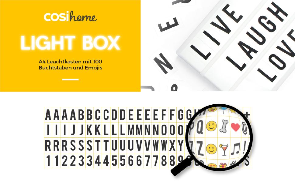 Cosi Home A4 Lightbox Lichtbox Leuchtkasten Mit 100 Buchstaben Emojis Und Symbolen Zum Individuellen Gestalten Von Nachrichten Led Deko