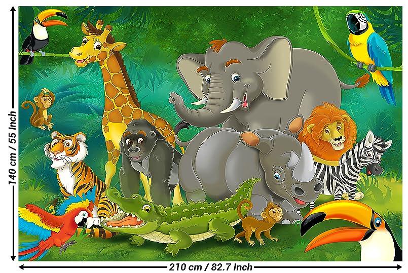 Fototapete Kinderzimmer Dschungel Tiere Wandbild Dekoration Jungle