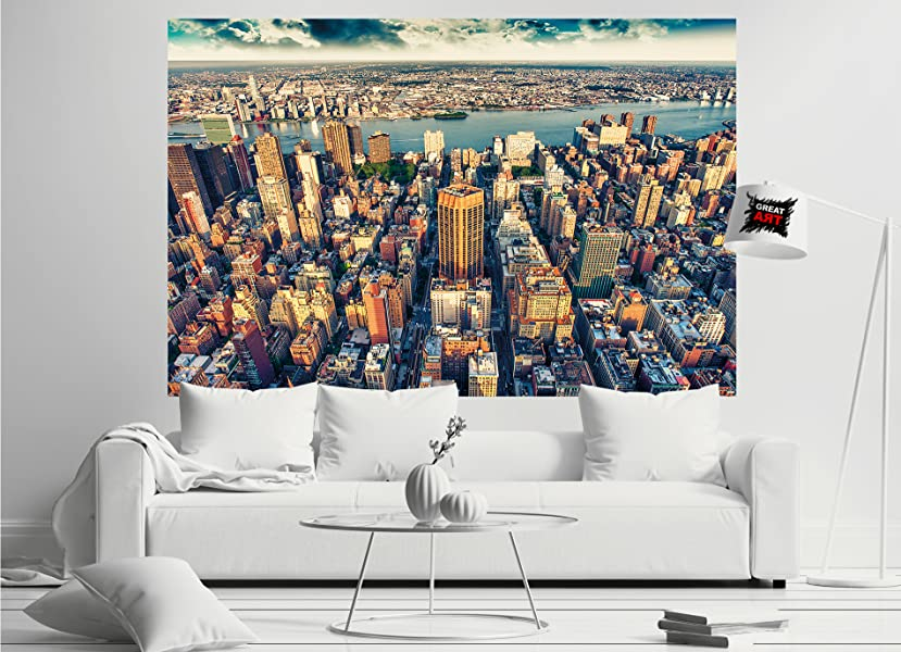 Fototapete New York City Skyline   Wandbild Dekoration Sonnenuntergang  Manhattan Amerika USA Deko Big Apple NYC I Foto Tapete Wandtapete  Fotoposter Wanddeko ...