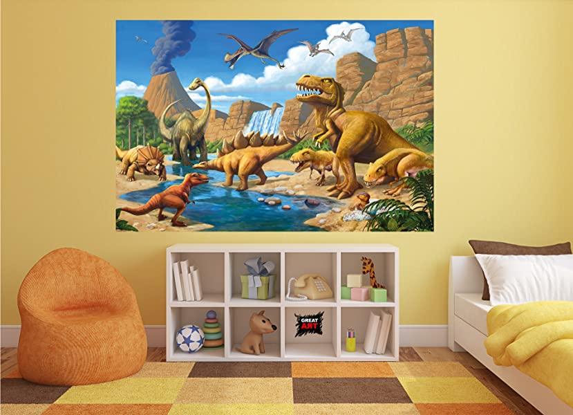 Fototapete Kinderzimmer Abenteuer Dinosaurier   Wandbild Dekoration  Dinowelt Comic Style Jungle Adventure Dinosaurus Wasserfall I Foto Tapete  Wandtapete ...