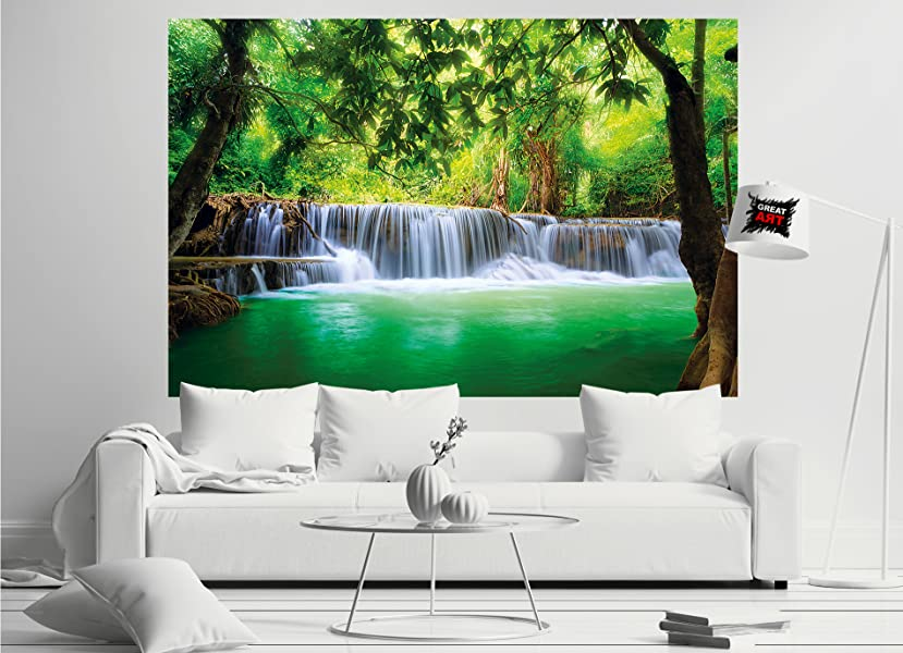 fototapete wasserfall feng shui wandbild dekoration natur dschungel landschaft paradies urlaub. Black Bedroom Furniture Sets. Home Design Ideas
