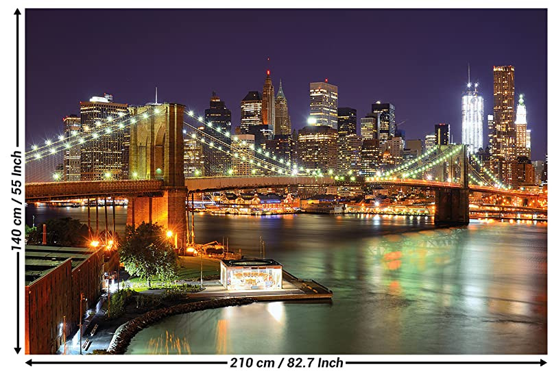 fototapete new york wandbild dekoration brooklyn bridge bei nacht leuchtende wolkenkratzer. Black Bedroom Furniture Sets. Home Design Ideas