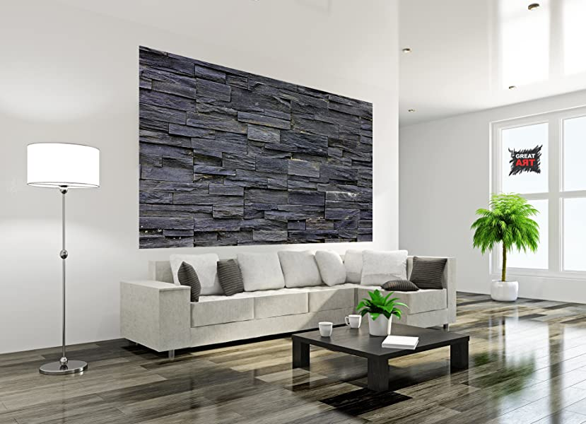 fototapete 3d effekt black stonewall wandbild dekoration tapete in steinoptik schwarz steinwand. Black Bedroom Furniture Sets. Home Design Ideas