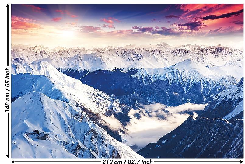 Fototapete alpen panorama wandbild dekoration winter sonnenuntergang schnee landschaft natur - Alpen dekoration ...