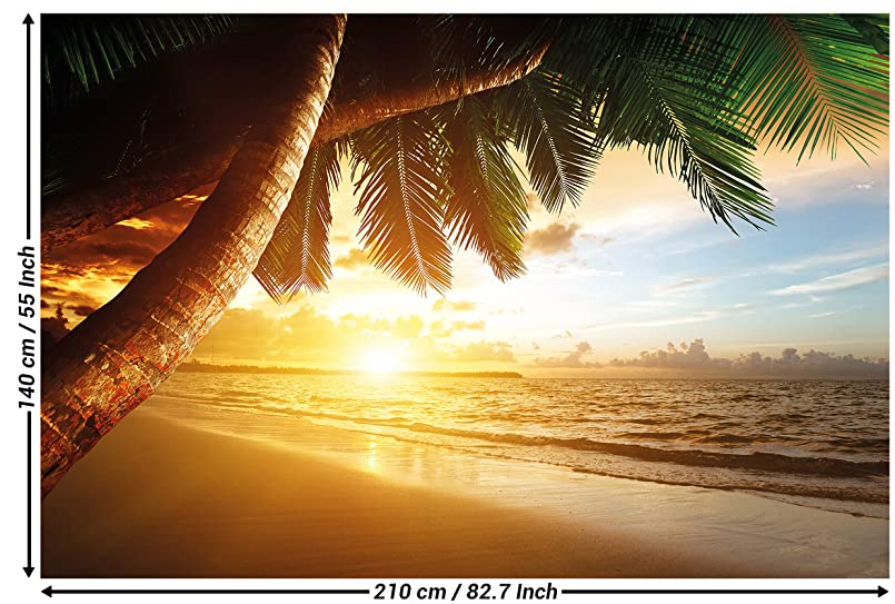 fototapete sonnenuntergang am meer wandbild dekoration karibik palm beach paradies strand sonne. Black Bedroom Furniture Sets. Home Design Ideas